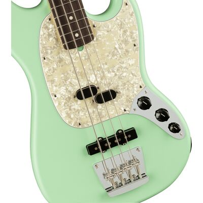 Fender American Performer Mustang Bass RW Satin Surf Green elektromos basszusgitár